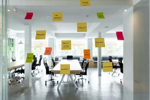 coworking space with sticky notes on the door